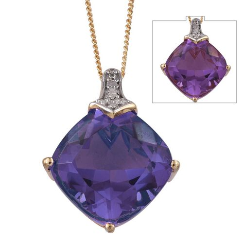 Lavender Alexite (Cush 7.75 Ct), Diamond Pendant With Chain in 14K Gold Overlay Sterling Silver 7.760 Ct.