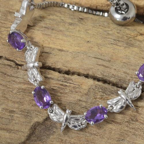 Amethyst (Ovl) Adjustable Bracelet (Size 6.5 to 9) in Silver Tone 2.000  Ct.