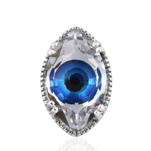 J Francis Made With Swarovski Bermuda Blue Crystal Evil Eye Pendant in Sterling Silver