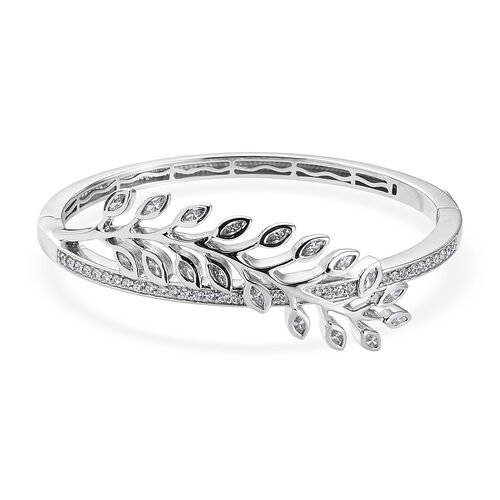 J Francis Platinum Overlay Sterling Silver Leaf Design Bangle (Size 7.5) Made with SWAROVSKI ZIRCONI
