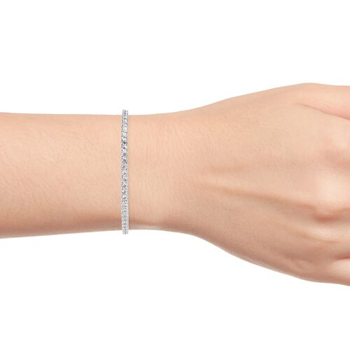 ELANZA AAA Simulated Diamond (Rnd) Bangle (Size 7.5) in Rhodium Overlay Sterling Silver, Silver wt 12.48 Gms