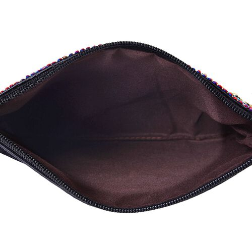 Classic Black Floral Embroidered Velvet Crossbody Bag with Removable Shoulder Strap (Size 23X16 Cm)