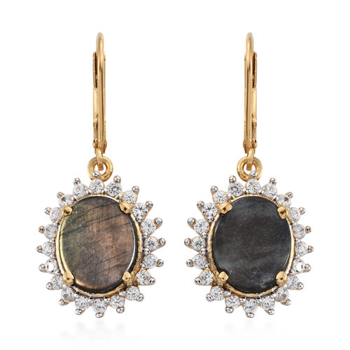 Natural Spectrolite (Ovl), Natural Cambodian Zircon Lever Back Earrings in 14K Gold Overlay Sterling