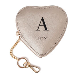 100% Genuine Leather A Initial Heart Shape Coin Card / Purse with Key Chain in Gold Colour (Size 12x