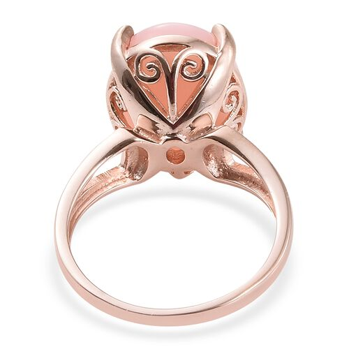 Peruvian Pink Opal (Ovl) Solitaire Ring in Rose Gold Vermeil Sterling Silver 8.500 Ct. Silver wt 6.35 Gms.