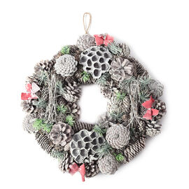 Christmas Wreath - Pinecone and Bow (Size 36x36cm)