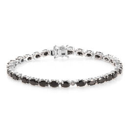7.05 Ct Shungite and Diamond Tennis Bracelet in Platinum Plated Sterling Silver 11.79 Grams 8 Inch