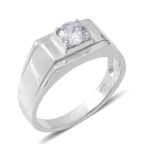 ELANZA Simulated Diamond Solitaire Ring in Rhodium Plated Silver 5 Grams