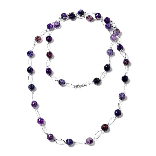 Designer Inspired- Faceted Purple Agate (Round 11-13mm) Necklace (Size 44) in Silver Plated 330.000