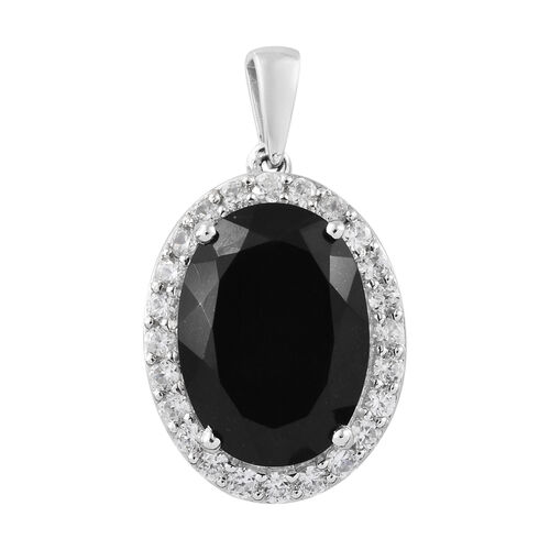 14.50 Ct Black Tourmaline and Zircon Halo Pendant in Platinum Plated Silver