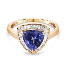 9K Yellow Gold  Tanzanite, White Diamond Ring in Rhodium Overlay 2.15 ct,  Gold Wt. 1.8 Gms  2.150