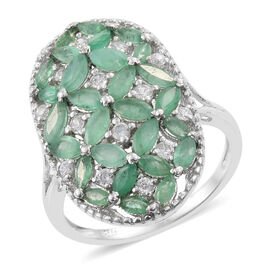 3 Carat Zambian Emerald and Cambodian Zircon Floral Ring in Sterling Silver 5.30 Grams