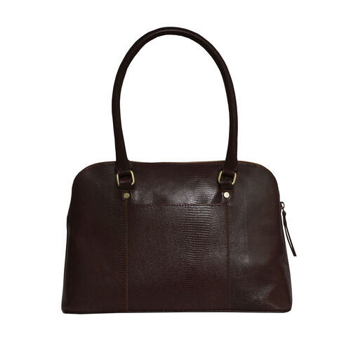 Assots London SYDNEY Lizard Designer Genuine Leather Grab Bag with Detachable and Adjustable Shoulder Strap (Size 36x13x24 Cm) - Brown