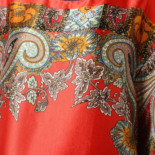 Red, Orange, Green and Multi Colour Flower and Leaves Pattern Apparel (Size 110x65 Cm)