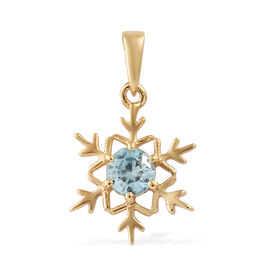 Simulated Blue Topaz (Rnd) Snowflake Pendant in 14K Gold Overlay Sterling Silver