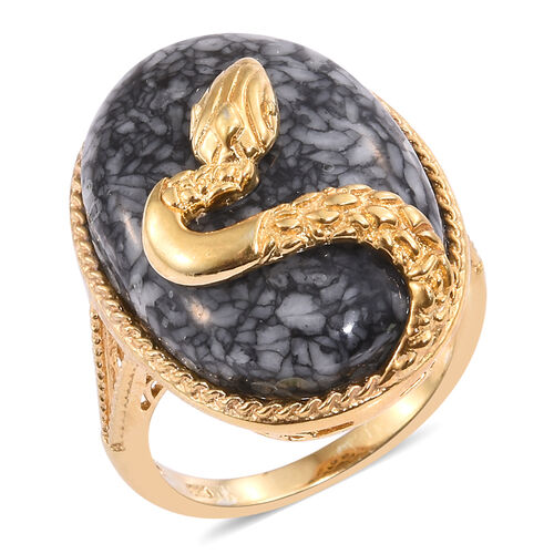 Austrian Pinolith (Ovl) Snake Ring in 14K Gold Overlay Sterling Silver 29.500 Ct.