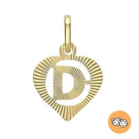 9K Yellow Gold Diamond Cut Heart Initial D Pendant