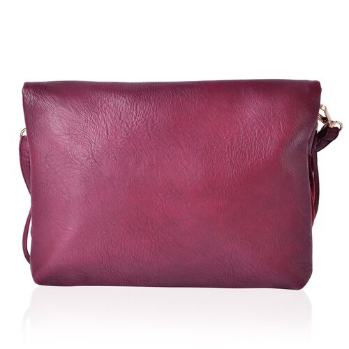 Burgundy Colour Crossbody Bag with Adjustable and Removable Shoulder Strap and Large Tassels (Size 24x19 Cm)