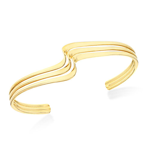 Yellow Gold Overlay Sterling Silver 3 Row Twisted Cuff Bangle (Size 7.5), Silver wt 19.50 Gms.