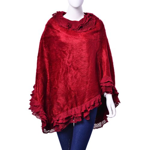 Red Colour Poncho with Lace Collar Edge (Size 90x70 Cm)