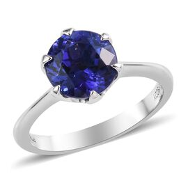 RHAPSODY 950 Platinum AAAA Tanzanite (Rnd 8 mm) Solitaire Ring 2.00 Ct.