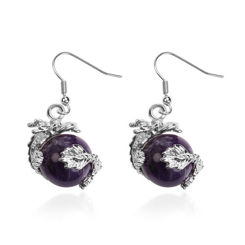 2 Piece Set - Amethyst Hook Earrings and Pendant with Chain Stainless Steel 85.00 Ct.