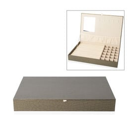 Croc Embossed Jewellery Box with Mirror Inside (Size 35x24x4.3 cm) - Olive Green