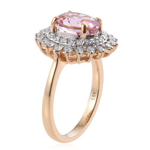 ILIANA 18K Yellow Gold AAAA Brazilian Kunzite (Ovl) Diamond (SI G-H) Ring 4.250 Ct.