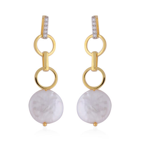 Baroque White Pearl and Simulated Diamond Earrings in Sterling Silver