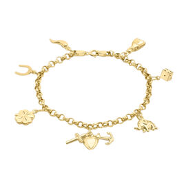 Hatton Garden Close Out 9K Yellow Gold Multi Charm Bracelet (Size 7)