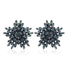 9K White Gold Blue Diamond (Bgt) (I3) Starburst Earrings (with Push Back) 0.750 Ct.