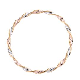 Tri Toned Designer Bangle in Platinum Rose and Gold Plated Silver 8.30 Grams 7.5 Inch
