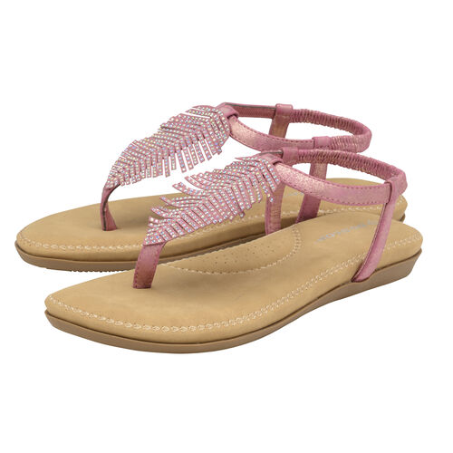 Dunlop Rue Embellished Feather Toe Post Flat Sandals (Size 6) - Rose