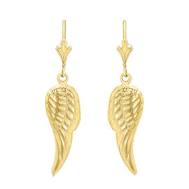 9K Yellow Gold Angel Wing Drop Fancy Lever Back Earrings
