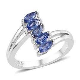 Burmese Blue Sapphire (1.00 Ct) Platinum Overlay Sterling Silver 5 Stone Look Ring  1.000  Ct.