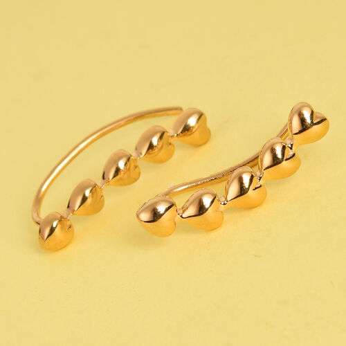 14K Gold Overlay Sterling Silver Heart Climber Earrings