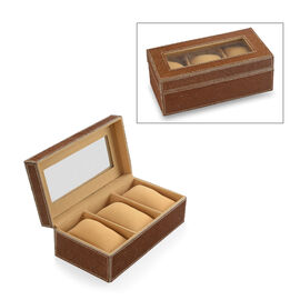 Camel Hair-on Natural Leather Watch Box with Three Sections (Size 21x11x7.5 Cm)