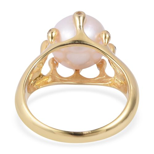 LucyQ Edison Pearl (Rnd 11 MM), White Topaz Ring in Yellow Gold Overlay Sterling Silver.