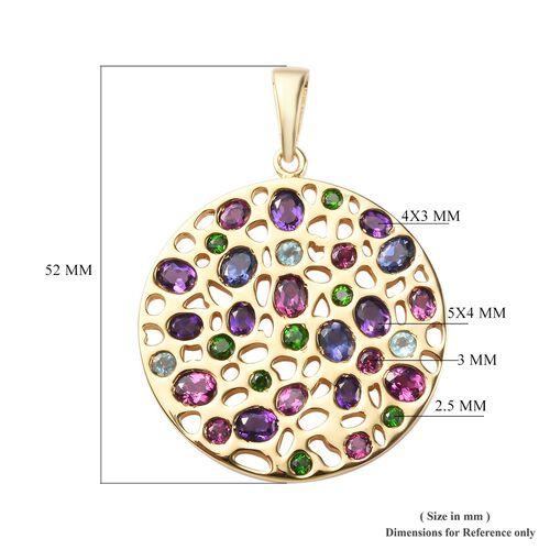 Amethyst, Rhodolite Garnet and Multi Gemstone Cluster Pendant in 14K Gold Overlay Sterling Silver 6.50 Ct, Silver wt 18.75 Gms