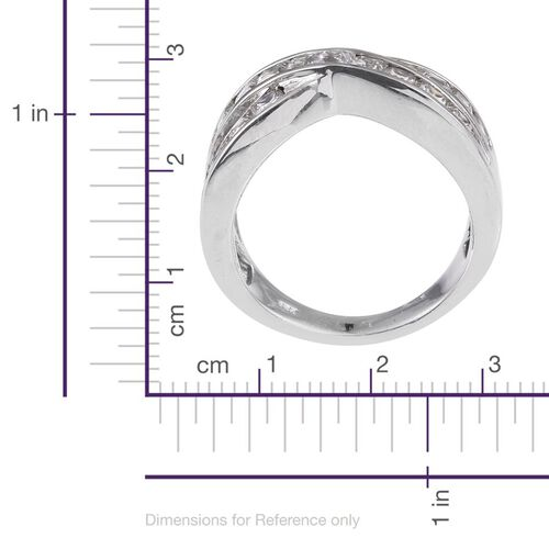J Francis - Platinum Overlay Sterling Silver (Sqr) Criss Cross Ring Made with SWAROVSKI ZIRCONIA, Silver wt 5.50 Gms.