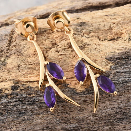 Amethyst 1.50Ct Silver Earrings (with Push Back) in Gold Overlay