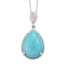 10 Carat Natural Peruvian Amazonite and Cambodian Zircon Drop Pendant with Chain in Sterling Silver