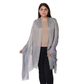Solid Colour Shimmery Scarf with Small Fringes (Size 195x95 Cm) - Grey and Golden