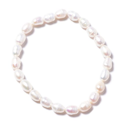 3 Piece Set- Freshwater White Pearl Necklace (Size 18 with 1 inch Extender) Bracelet (Stretchable) and  Hook Earrings