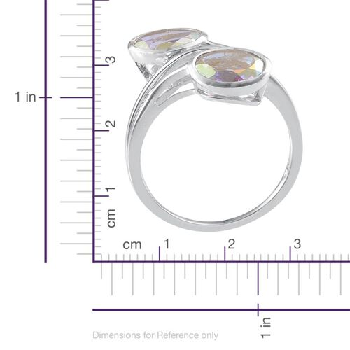 Mercury Mystic Topaz (Ovl) Crossover Ring in Platinum Overlay Sterling Silver 3.750 Ct.