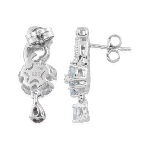 Santa Teresa Aquamarine and Natural Cambodian Zircon Dangle Earrings (with Push Back) in Platinum Overlay Sterling Silver 1.85 Ct