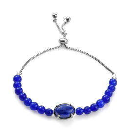 Lapis Lazuli (Ovl) Bolo Bracelet (Size 6.5 - 9.5 Adjustable) in Stainless Steel 41.000 Ct.