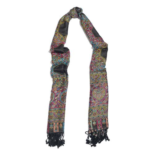 Black, Pink and Multi Colour Paisley and Floral Pattern Reversible Jacquard Scarf with Tassels (Size 190X70 Cm)