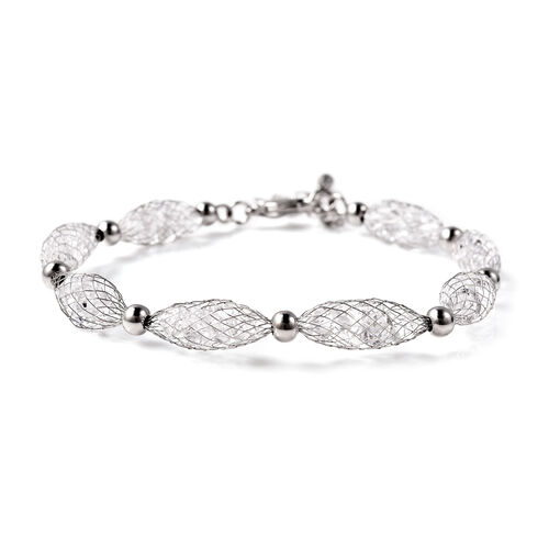 White Austrian Crystal Bracelet (Size 7.5 with 2 inch Extender) in Silver Tone