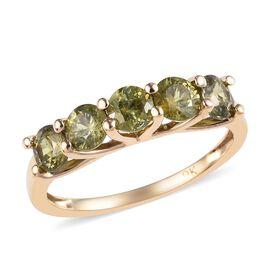 9K Yellow Gold Russian Demantoid Garnet (Rnd) Five Stone Ring 1.50 Ct.